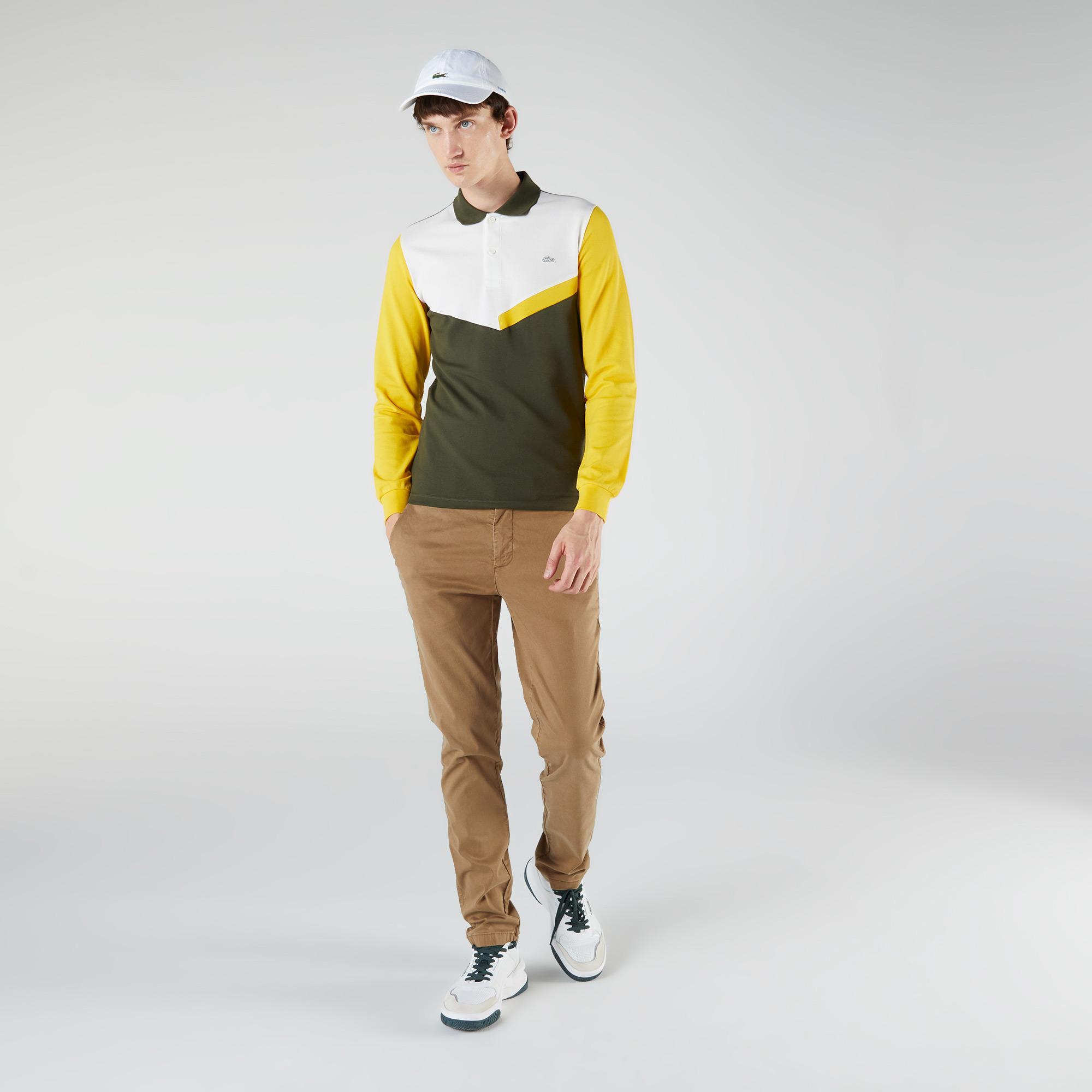 Lacoste Erkek Slim Fit Uzun Kollu Renk Bloklu Haki Polo