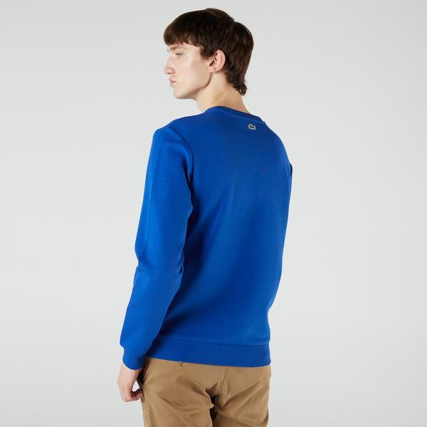 Lacoste Erkek Regular Fit Bisiklet Yaka Baskılı Mavi Sweatshirt