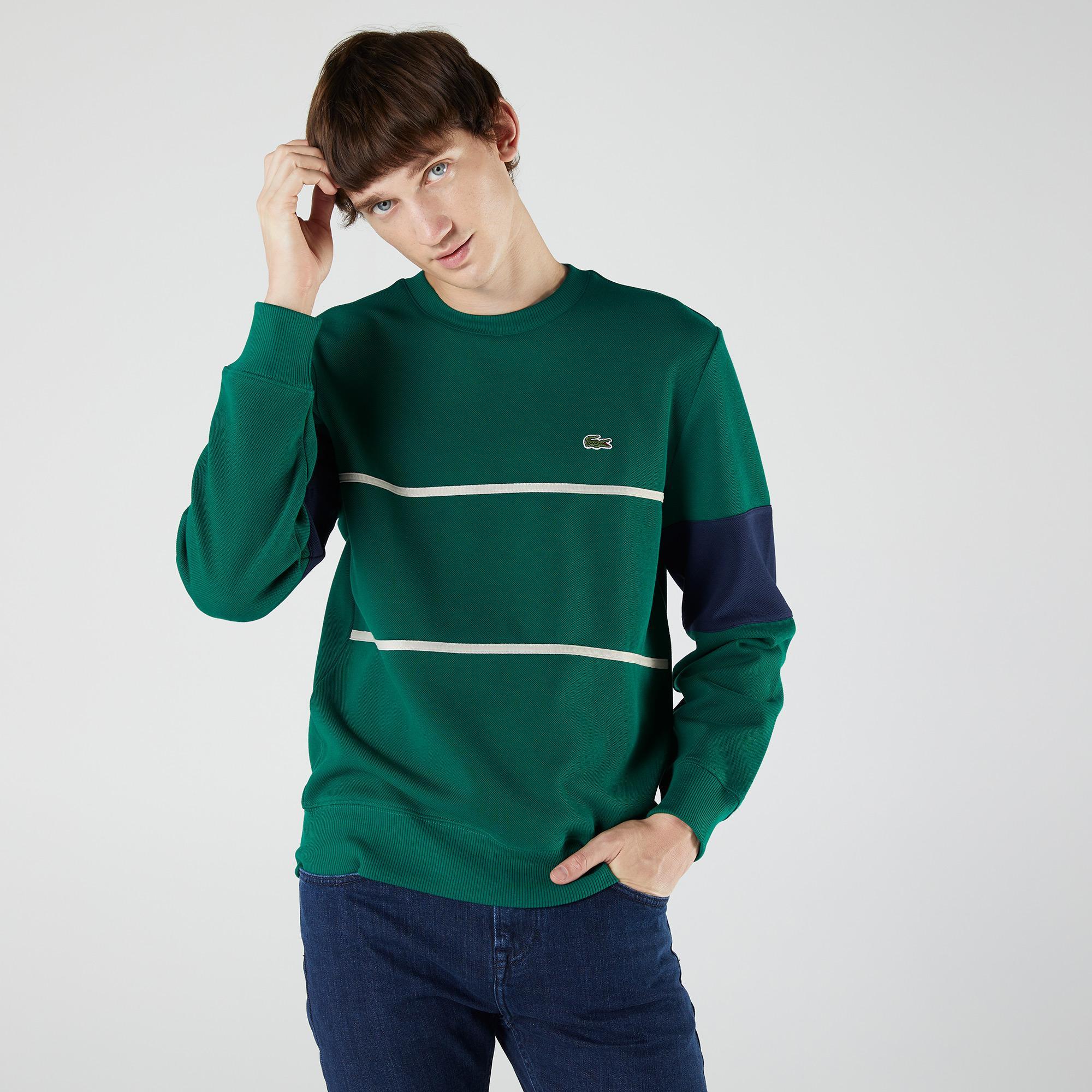 Lacoste Heritage Erkek Classic Fit Bisiklet Yaka Renk Bloklu Yeşil Sweatshirt