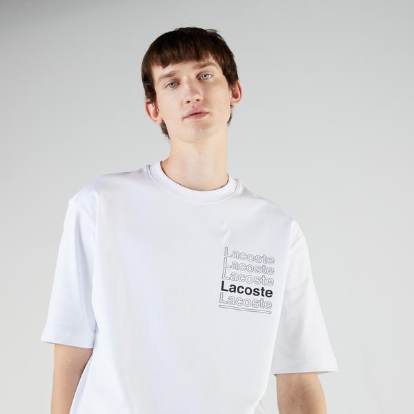 Lacoste L!VE Erkek Loose Fit Kısa Kollu Bisiklet Yaka Baskılı Beyaz T-Shirt