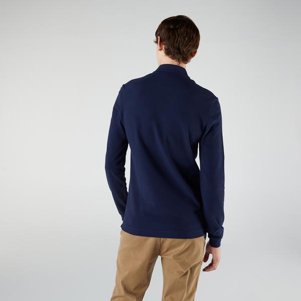 Lacoste Erkek Slim Fit Uzun Kollu Lacivert Polo