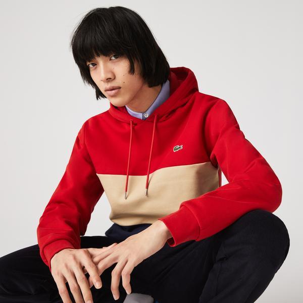 Lacoste Erkek Classic Fit Kapüşonlu Renk Bloklu Kırmızı Sweatshirt