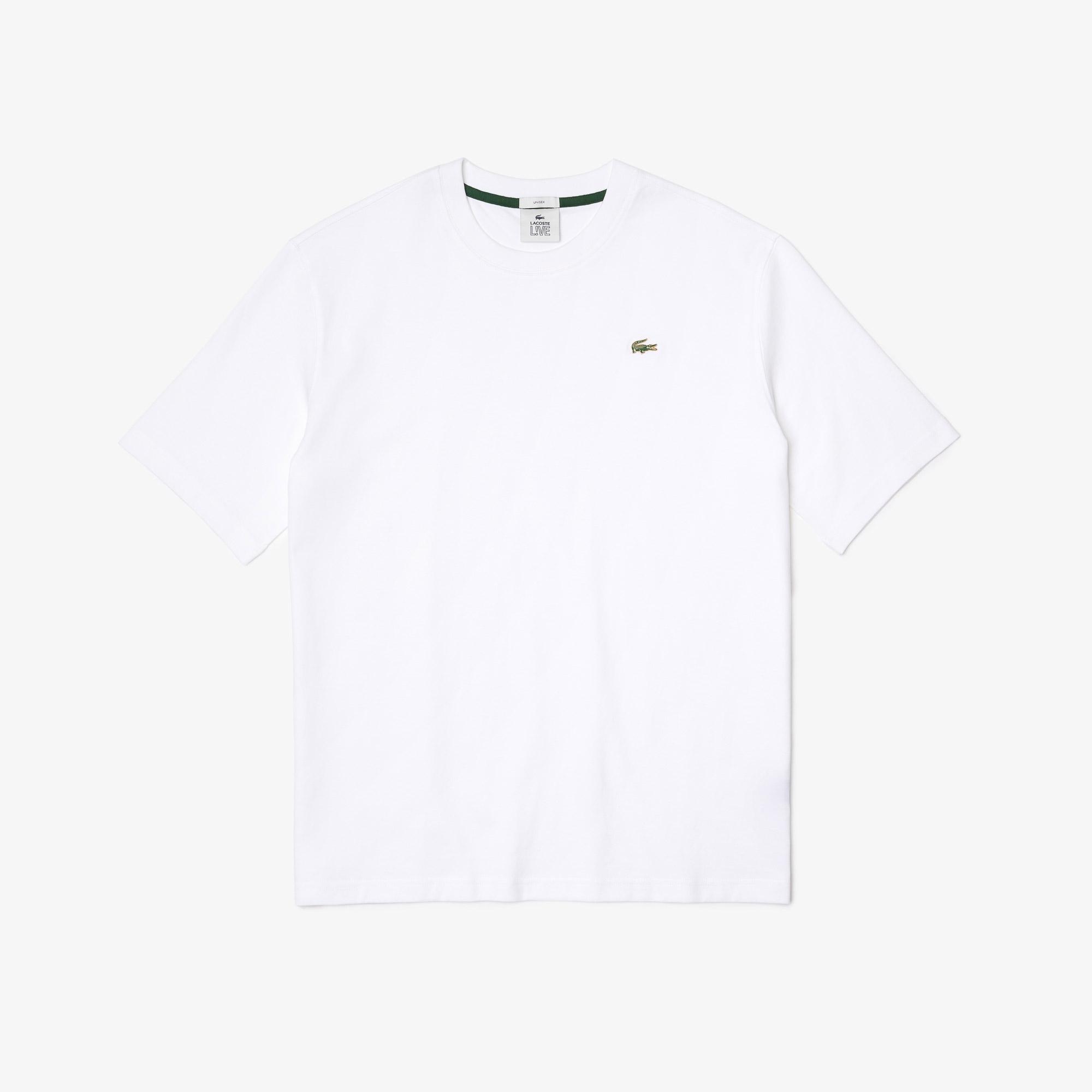 Lacoste L!VE Unisex Loose Fit Bisiklet Yaka Beyaz T-Shirt