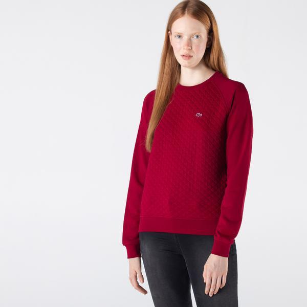 Lacoste Kadın Regular Fit Bisiklet Yaka Desenli Bordo Sweatshirt