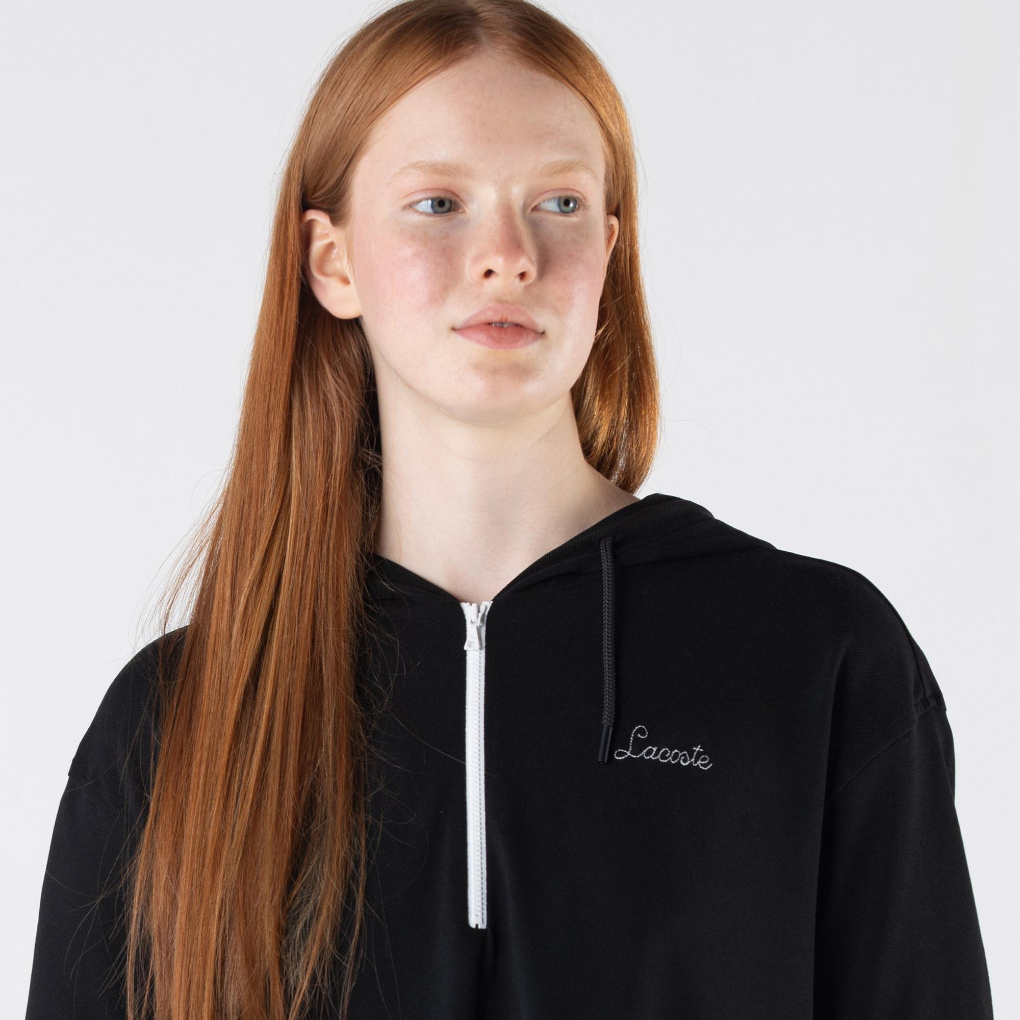 Lacoste Kadın Loose Fit Kısa Kollu Kapüşonlu Siyah Polo