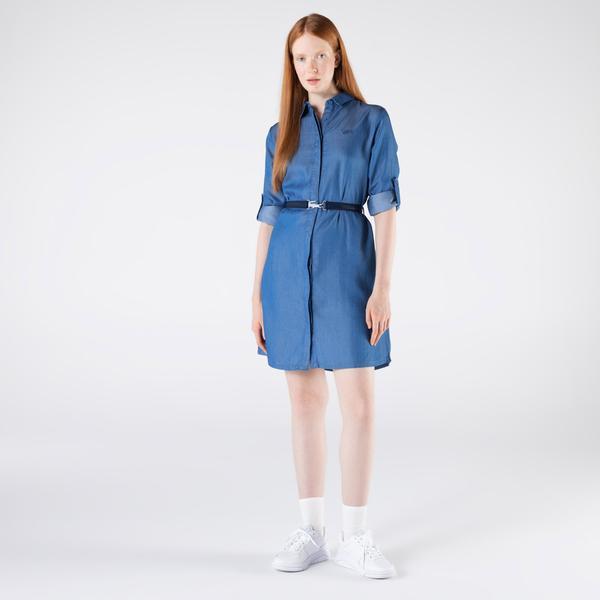 Lacoste Kadın Loose Fit Uzun Kollu Gömlek Yaka Açık İndigo Elbise