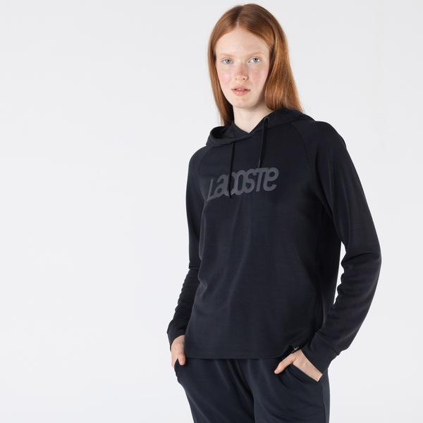 Lacoste Kadın Relaxed Fit Kapüşonlu Baskılı Siyah Sweatshirt