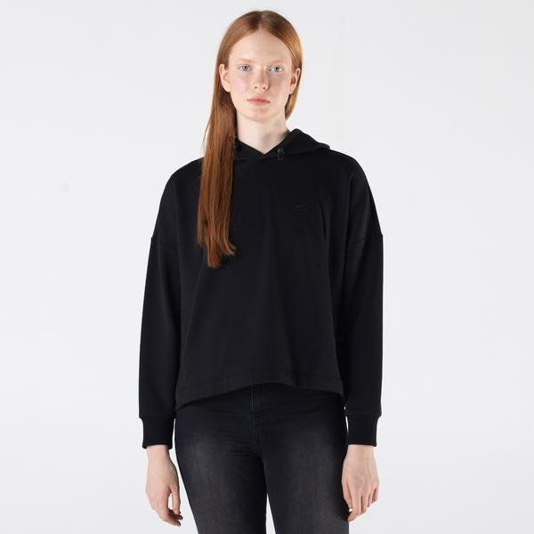 Lacoste Kadın Relaxed Fit Kapüşonlu Siyah Sweatshirt