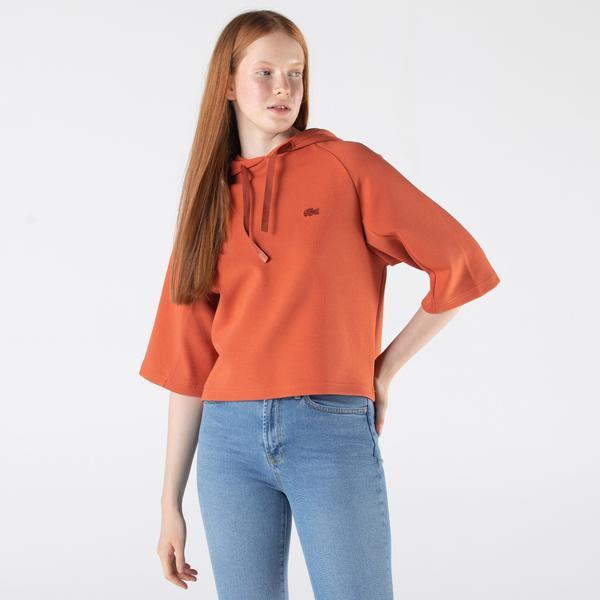 Lacoste Kadın Relaxed Fit Yarım Kollu Kapüşonlu Baskılı Turuncu Sweatshirt