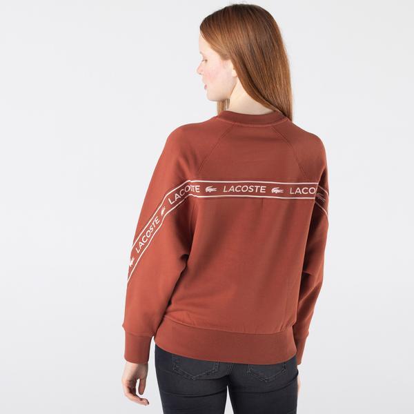 Lacoste Kadın Relaxed Fit Bisiklet Yaka Baskılı Turuncu Sweatshirt