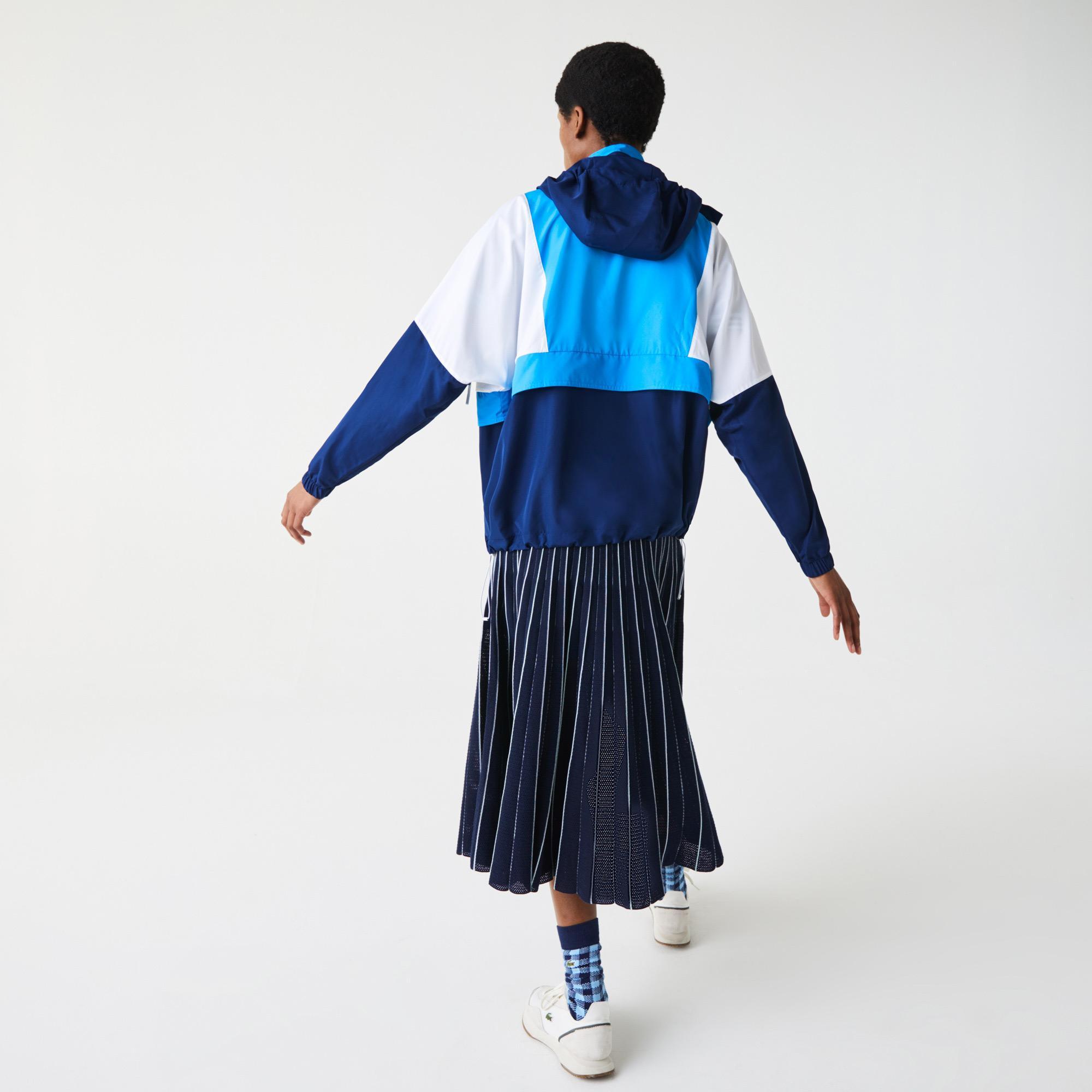Lacoste Kadın Kapüşonlu Renk Bloklu Mavi Rüzgarlık