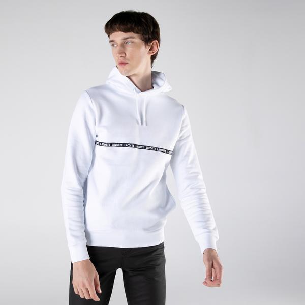 Lacoste Erkek Slim Fit Kapüşonlu Çizgili Beyaz Sweatshirt