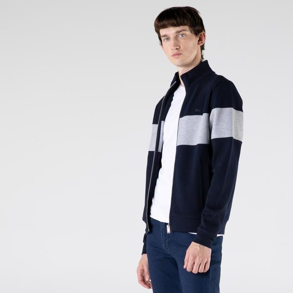 Lacoste Erkek Regular Fit Fermuarlı Renk Bloklu Lacivert Sweatshirt