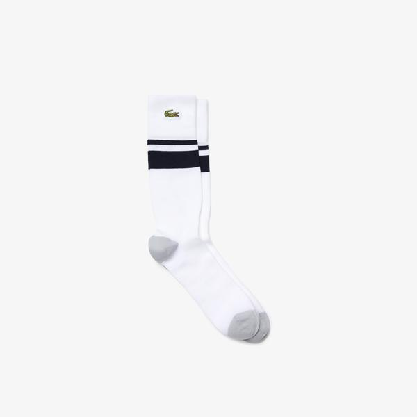 Lacoste SPORT Erkek Uzun Çizgili Beyaz Çorap