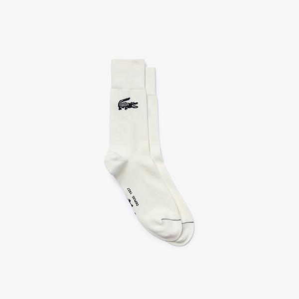 Lacoste Erkek Uzun Baskılı Ekru Çorap
