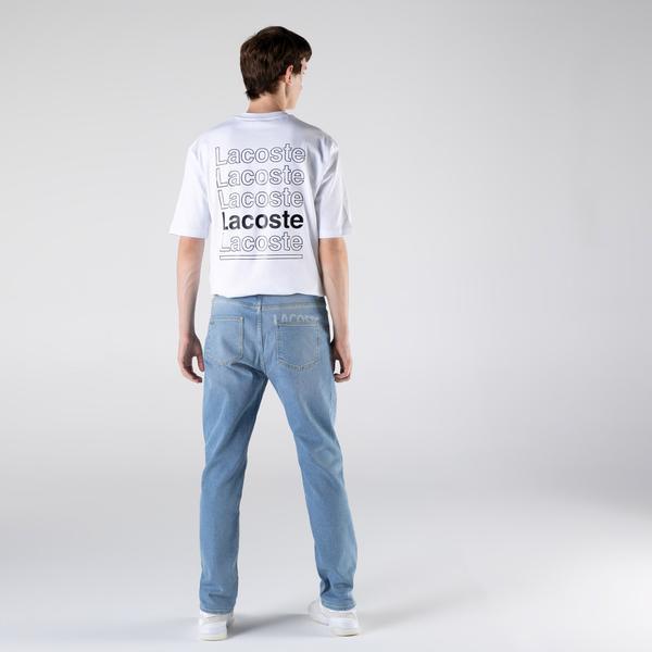 Lacoste L!VE Erkek Relaxed Fit Açık Mavi Denim Pantolon