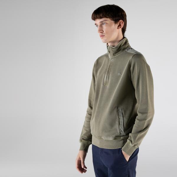 Lacoste Erkek Regular Fit Yarım Fermuarlı Haki Sweatshirt