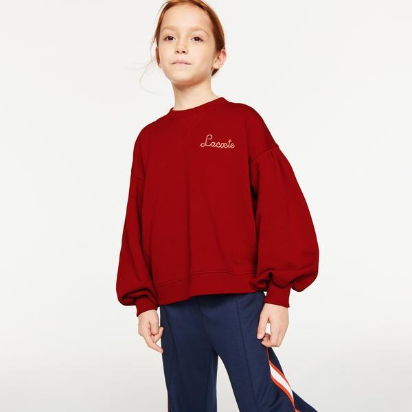 Lacoste Kız Çocuk Relaxed Fit Bisiklet Yaka Kırmızı Sweatshirt