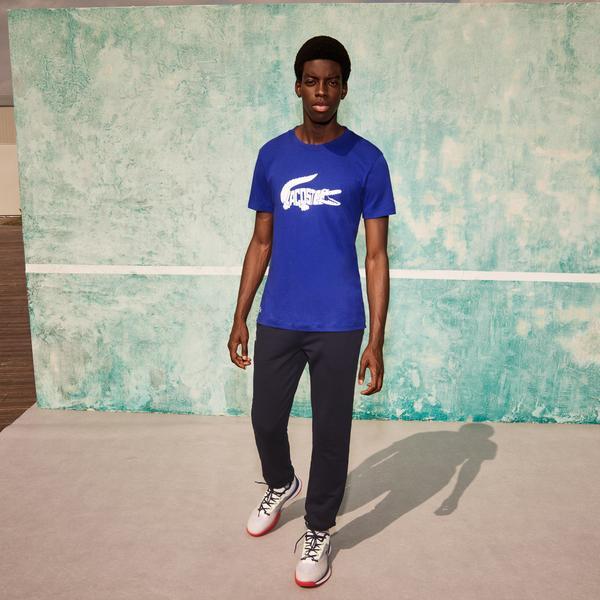 Lacoste SPORT X Novak Djokovic Erkek Regular Fit Bisiklet Yaka Baskılı Mavi T-Shirt