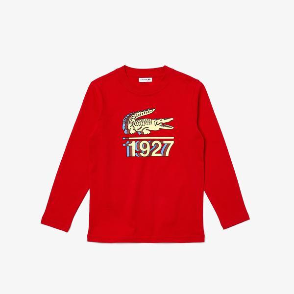 Lacoste Erkek Çocuk Uzun Kollu Bisiklet Yaka Baskılı Kırmızı T-Shirt