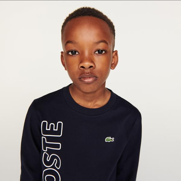Lacoste Erkek Çocuk Regular Fit Uzun Kollu Bisiklet Yaka Baskılı Lacivert T-Shirt