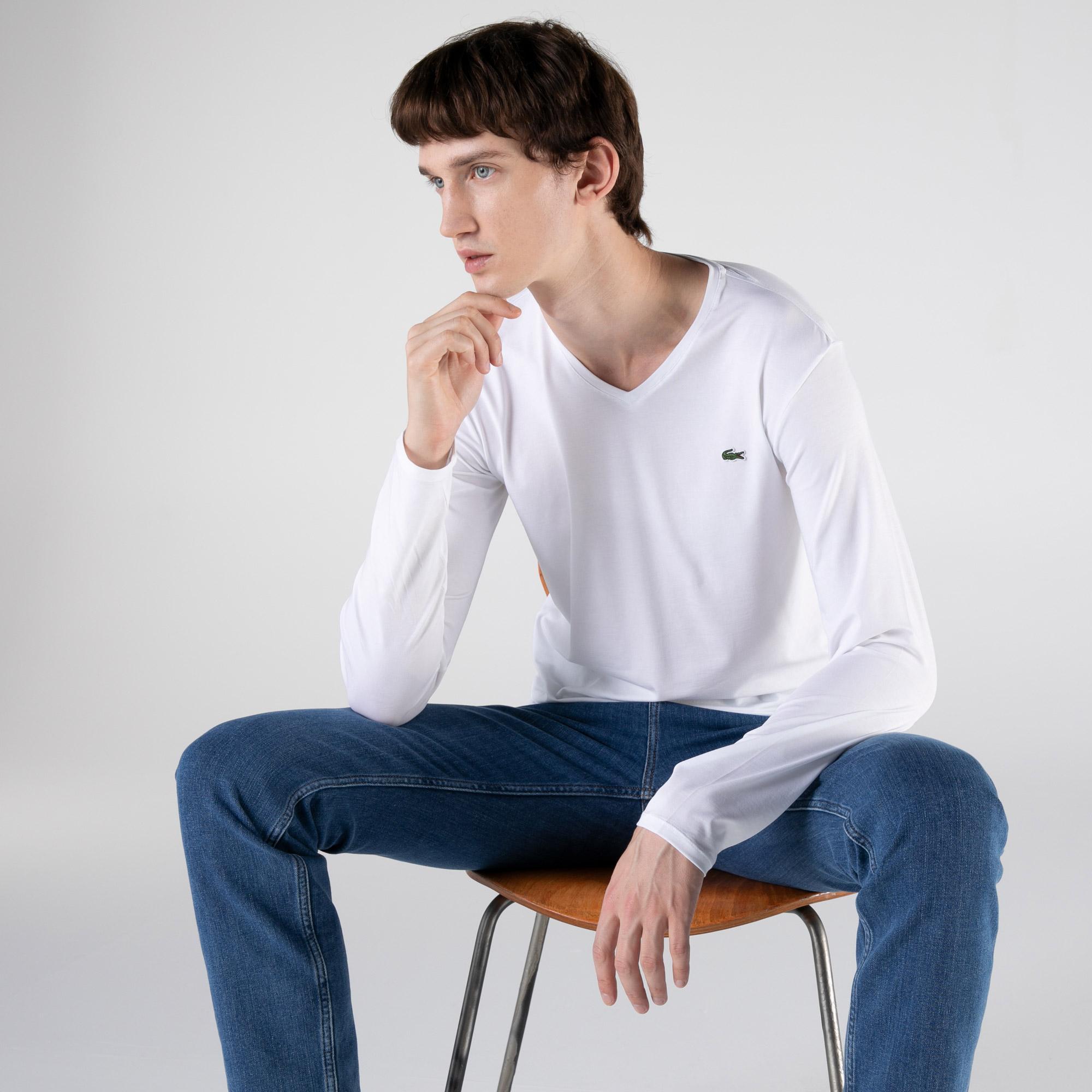 Lacoste Erkek Regular Fit Uzun Kollu V Yaka Beyaz T-Shirt