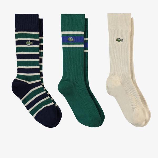 Lacoste Heritage Erkek Uzun Çizgili 3'lü Renkli Çorap