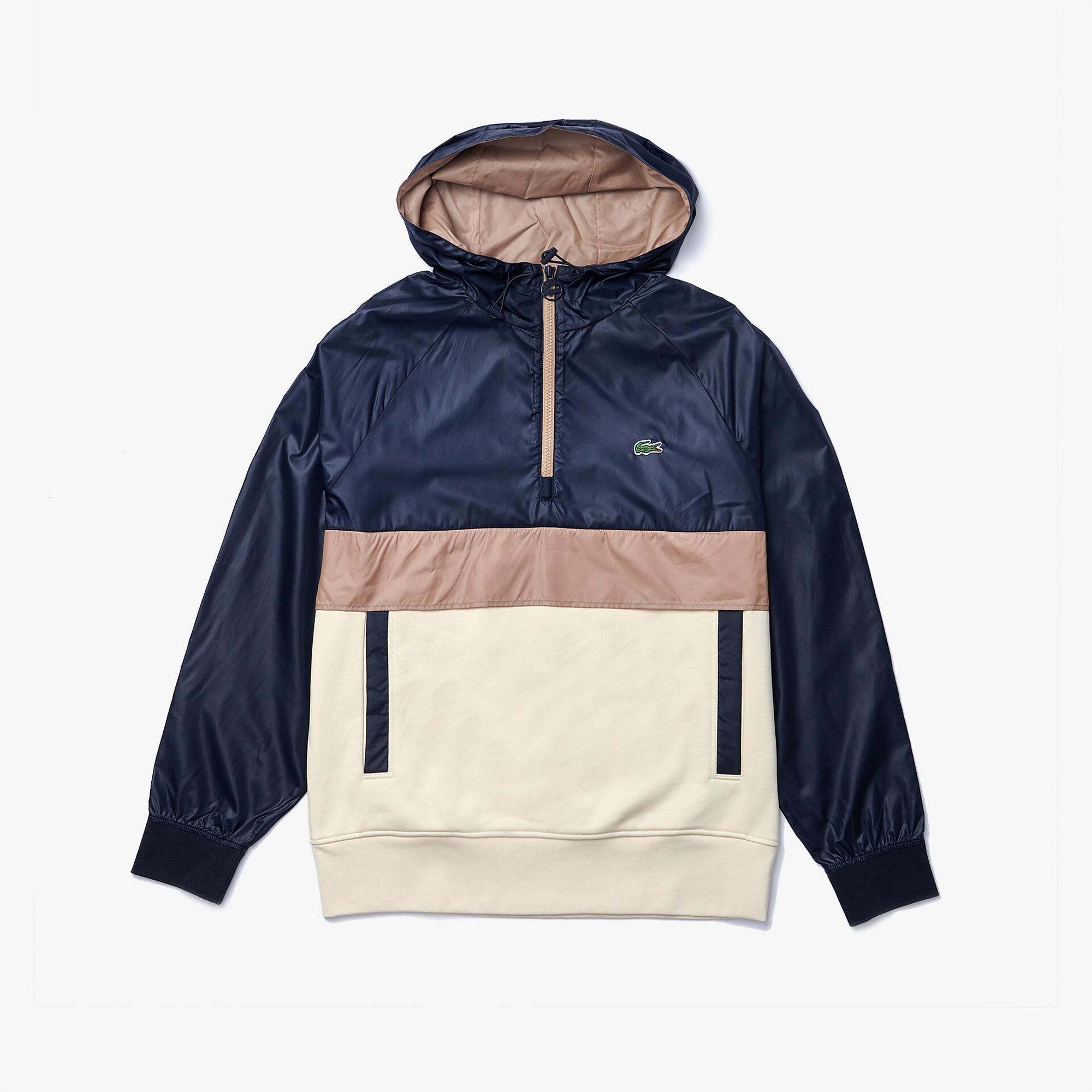 Lacoste Erkek Rahat Fit Kapüşonlu Renk Bloklu Renkli Sweatshirt