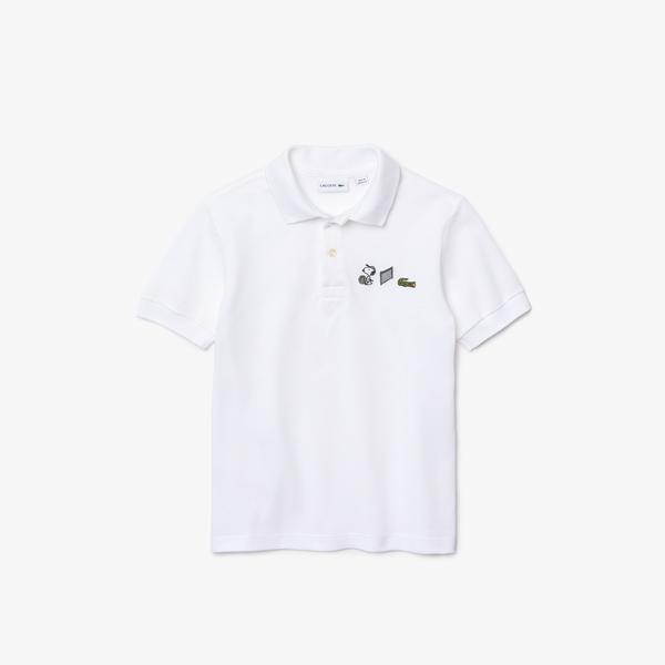 Lacoste X Peanuts Erkek Çocuk Regular Fit Baskılı Beyaz Polo