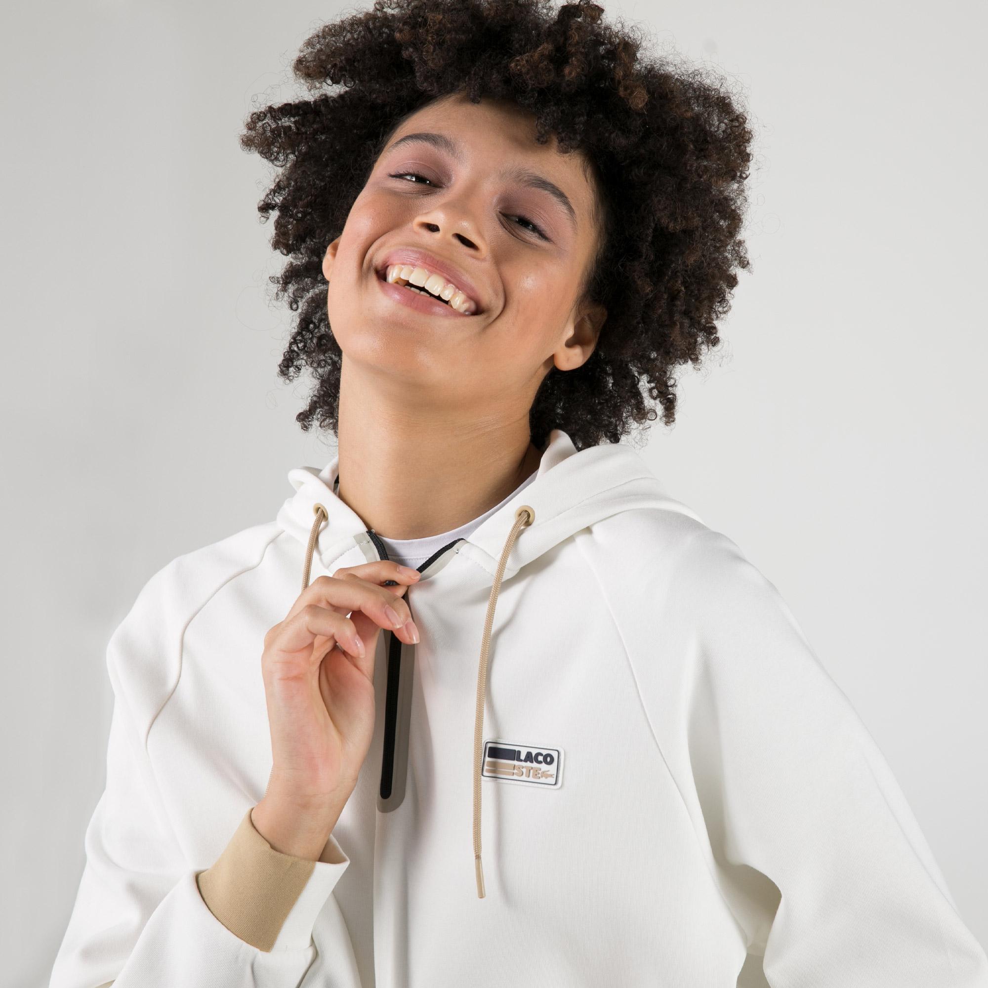 Lacoste SPORT Kadın Regular Fit Kapüşonlu Ekru Sweatshirt