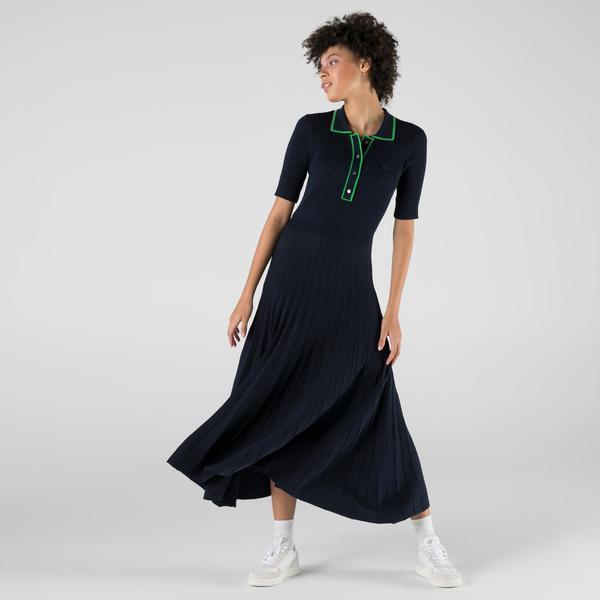 Lacoste Kadın Slim Fit Uzun Kollu Polo Yaka Lacivert Elbise