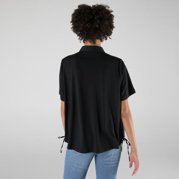 Lacoste Kadın Loose Fit Kısa Kollu Siyah Gömlek