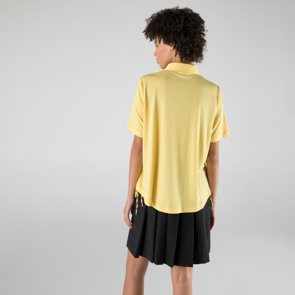 Lacoste Kadın Loose Fit Kısa Kollu Sarı Gömlek