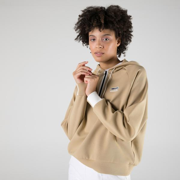 Lacoste SPORT Kadın Regular Fit Kapüşonlu Bej Sweatshirt