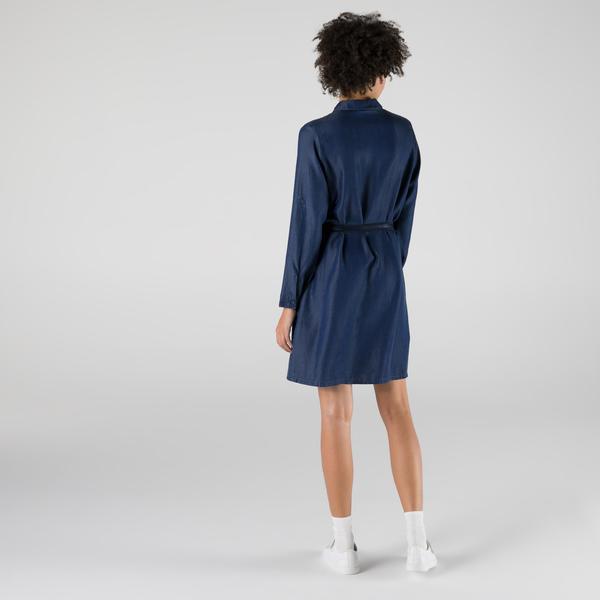 Lacoste Kadın Loose Fit Uzun Kollu Gömlek Yaka Koyu İndigo Elbise