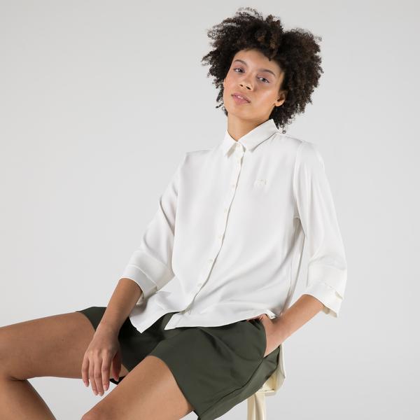 Lacoste Kadın Relaxed Fit Truvakar Kollu Beyaz Gömlek