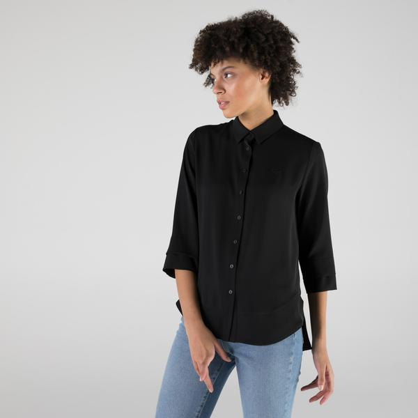 Lacoste Kadın Relaxed Fit Truvakar Kollu Siyah Gömlek