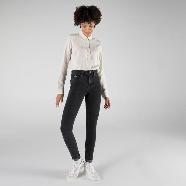 Lacoste Kadın Slim Fit Koyu Gri Denim Pantolon