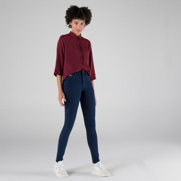 Lacoste Kadın Slim Fit Mavi Denim Pantolon
