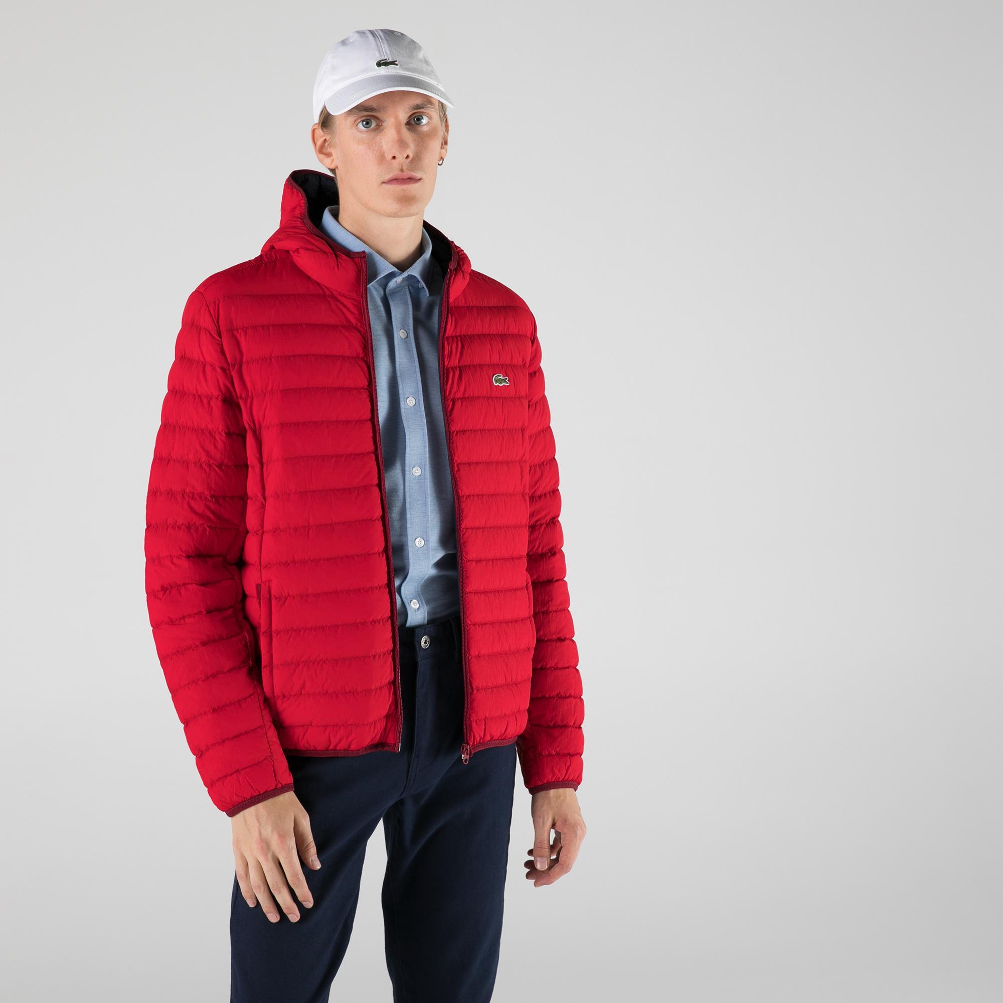 Lacoste Erkek Kapüşonlu Kırmızı Mont