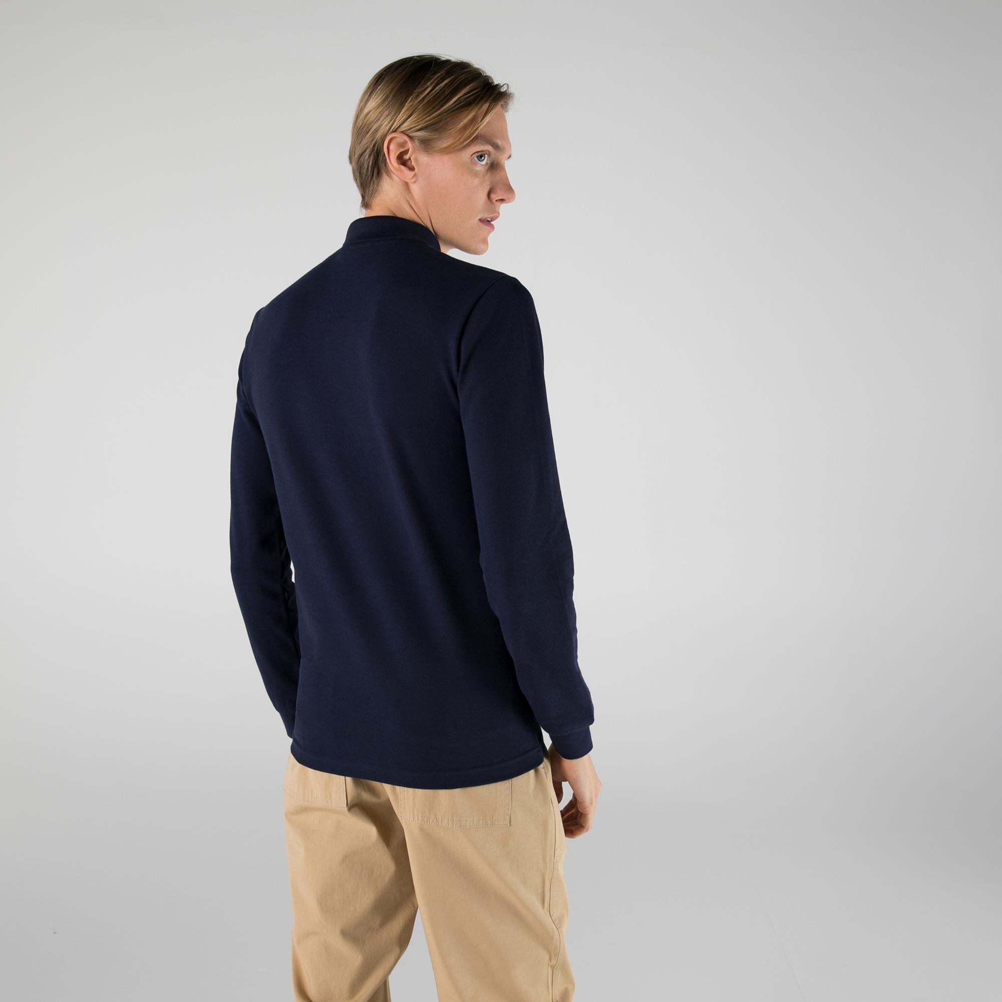 Lacoste Erkek Slim Fit Uzun Kollu Yarım Fermuarlı Lacivert Polo