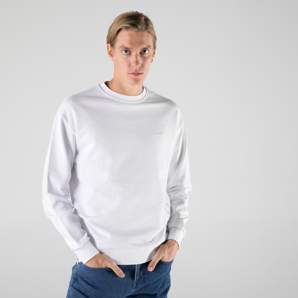 Lacoste Erkek Slim Fit Bisiklet Yaka Baskılı Beyaz Sweatshirt