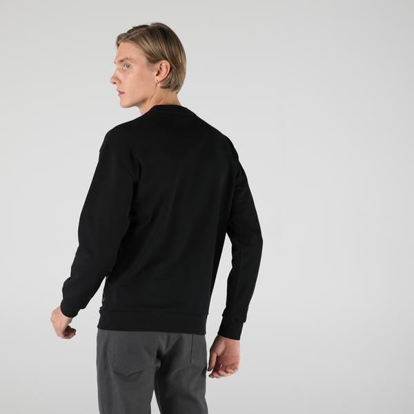 Lacoste Erkek Slim Fit Bisiklet Yaka Baskılı Siyah Sweatshirt