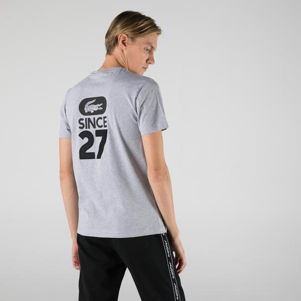 Lacoste Erkek Regular Fit Bisiklet Yaka Baskılı Gri T-Shirt
