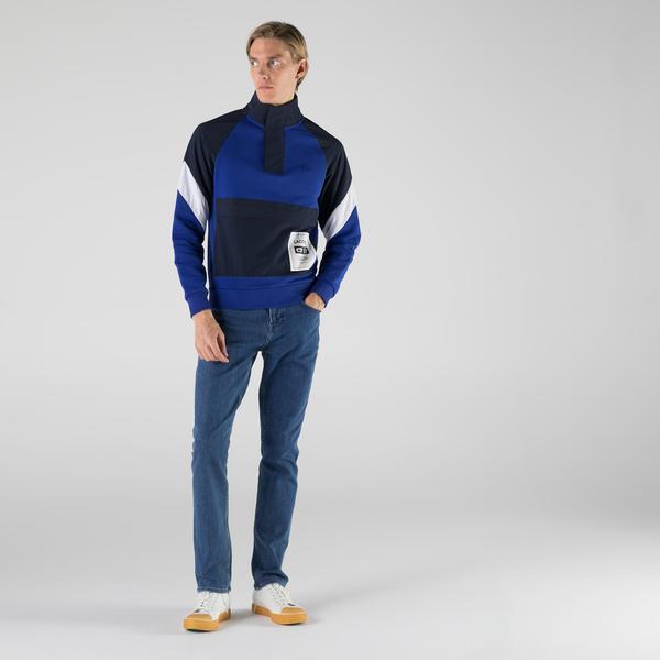 Lacoste Erkek Regular Fit Dik Yaka Renk Bloklu Mavi Sweatshirt