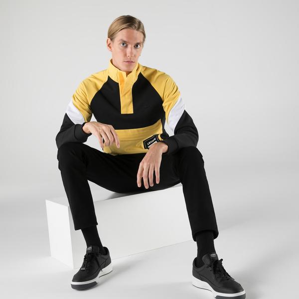 Lacoste Erkek Regular Fit Dik Yaka Renk Bloklu Sarı Sweatshirt