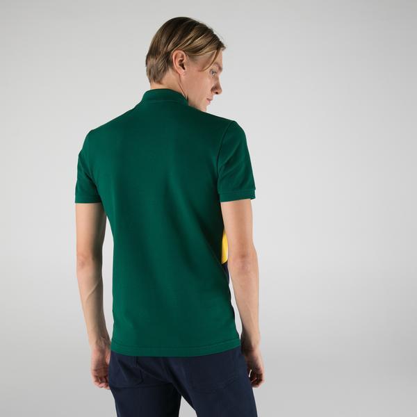 Lacoste Erkek Slim Fit Kısa Kollu Renk Bloklu Yeşil Polo