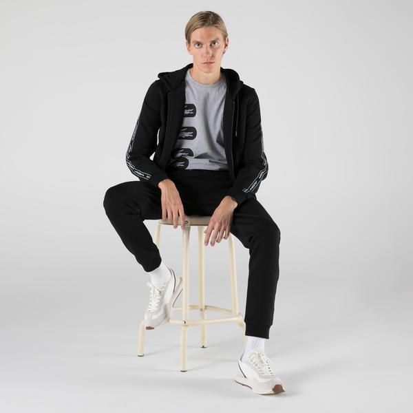Lacoste Erkek Slim Fit Kapüşonlu Fermuarlı Siyah Sweatshirt