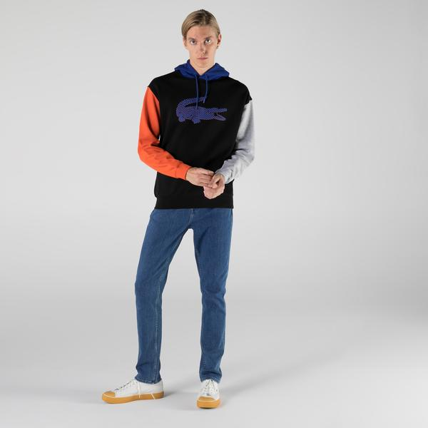 Lacoste Erkek Relaxed Fit Kapüşonlu Renk Bloklu Siyah Sweatshirt