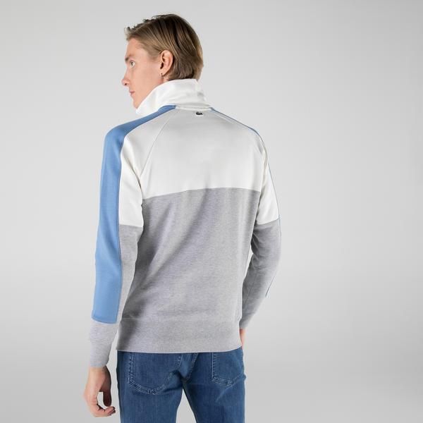 Lacoste Erkek Regular Fit Yarım Fermuarlı Renk Bloklu Beyaz Sweatshirt